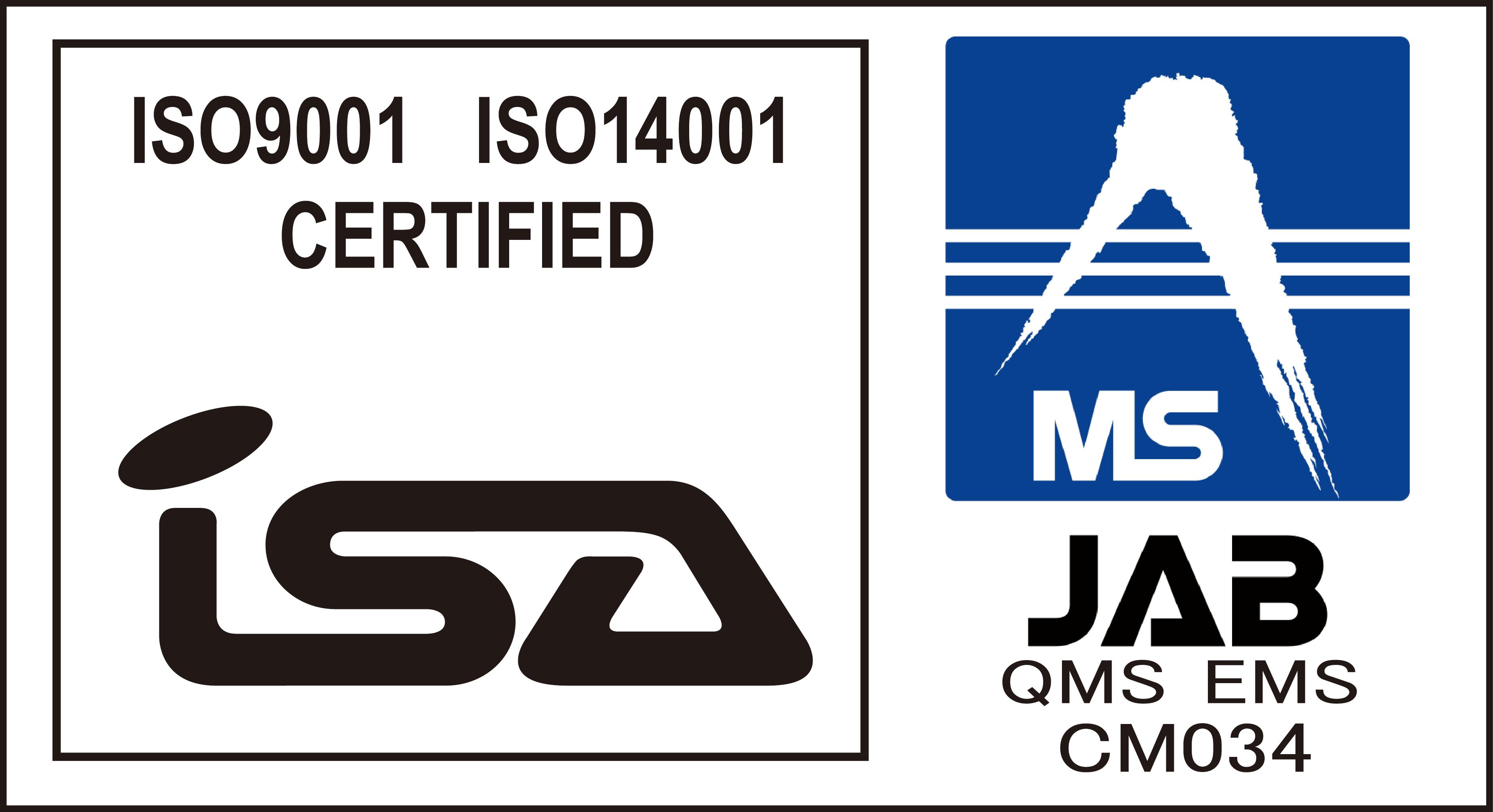 ISO 9001認定,ISO 14001認定